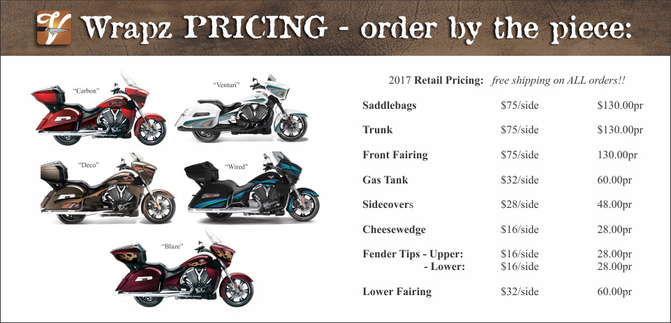 VicWrapz Wrap Price List